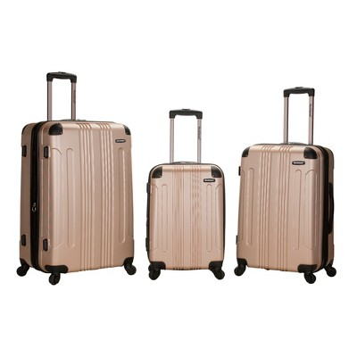 Rockland Sonic 3pc ABS Expandable Spinner Luggage Set - Champagne