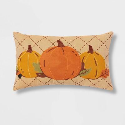 Pumpkin Lumbar Throw Pillow Orange