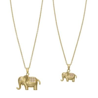 FAO Schwarz Fine Silver Plated Elephant Pendant Necklace Set