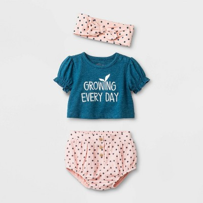 Baby Girls' Top and Bottom Set - Cat & Jack™ Blue 6-9M