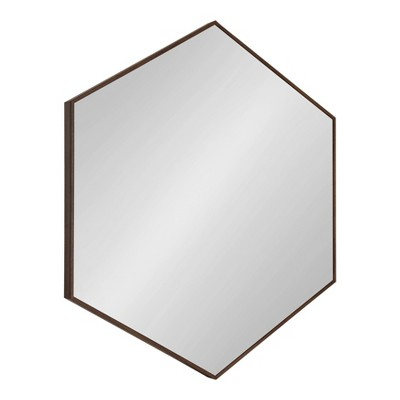 "30.75"" x 34.75"" Rhodes 6 Sided Hexagon Wall Mirror Walnut Brown - Kate and Laurel"