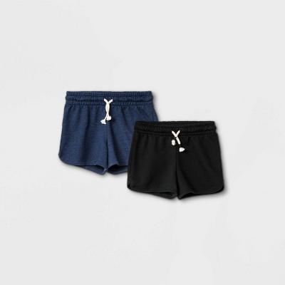 Girls' 2pk Knit Pull-On Shorts - Cat & Jack™ Heather Navy/Black