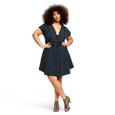 Women's Plus Size Snap Detail Short Sleeve V Neck Shift Mini Dress   Zac Posen For Target Navy by Neck Shift Mini Dress