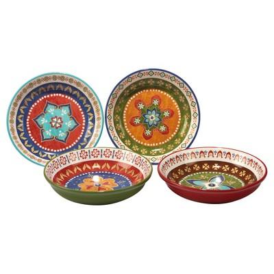 Certified International Monterrey by Veronique Charron Ceramic Bowls 40oz Blue - Set of 4