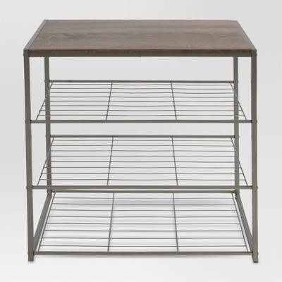 4 Tier Shoe Rack With Rustic Oak Finish Top Gray Metal - Threshold™