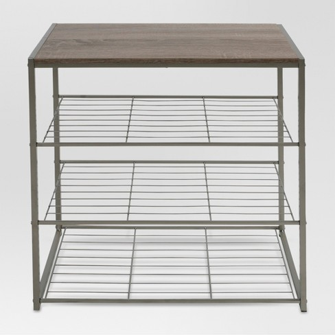 198e6f0eb2ef 4 Tier Shoe Rack With Partial Board Top Gray - Threshold™   Target