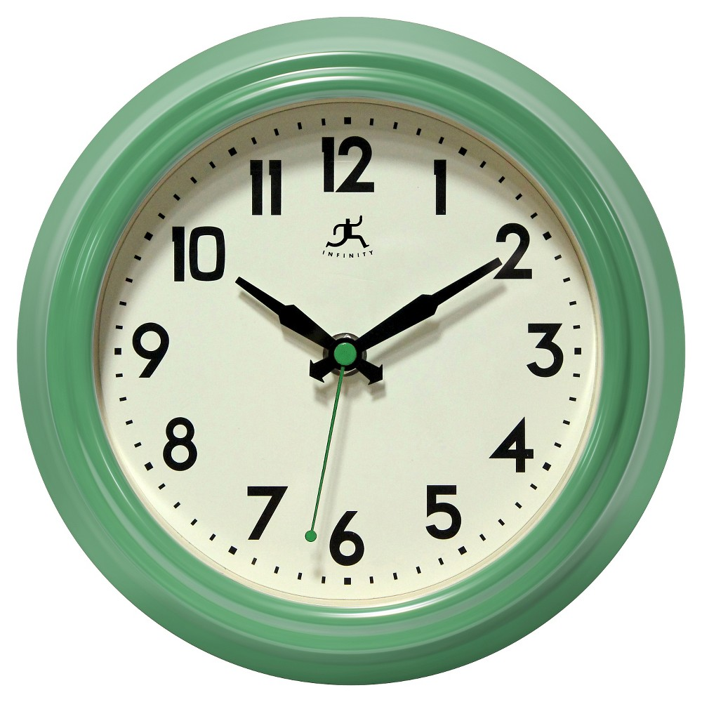 Retro Diner Round Wall Clock Green - Infinity Instruments