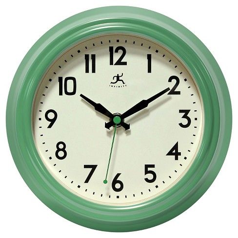 Retro Diner Round Wall Clock Green - Infinity Instruments® - image 1 of 3