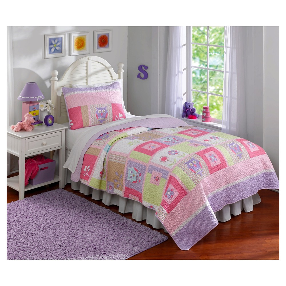 Image of Full/Queen 3pc Happy Owls Quilt Set - My World, Gray