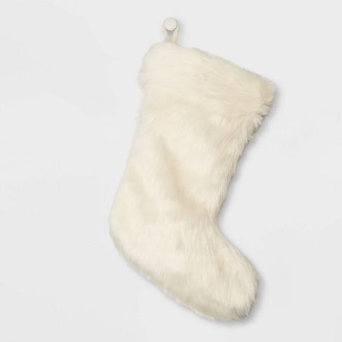 Faux Fur Christmas Stocking Cream - Wondershop™ - image 1 of 3