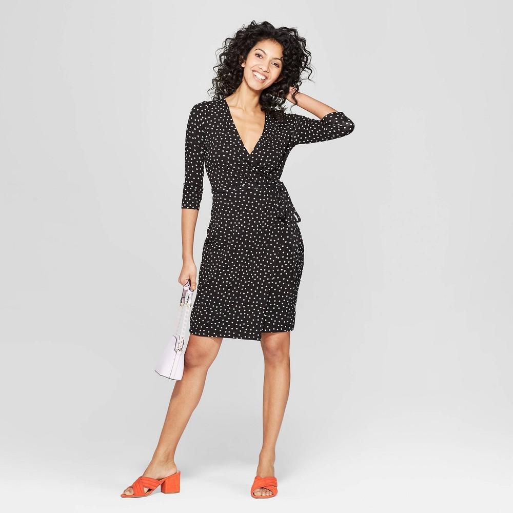 Women's Polka Dot 3/4 Sleeve V-Neck Knit Wrap Dress - A New Day Black/White Xxl