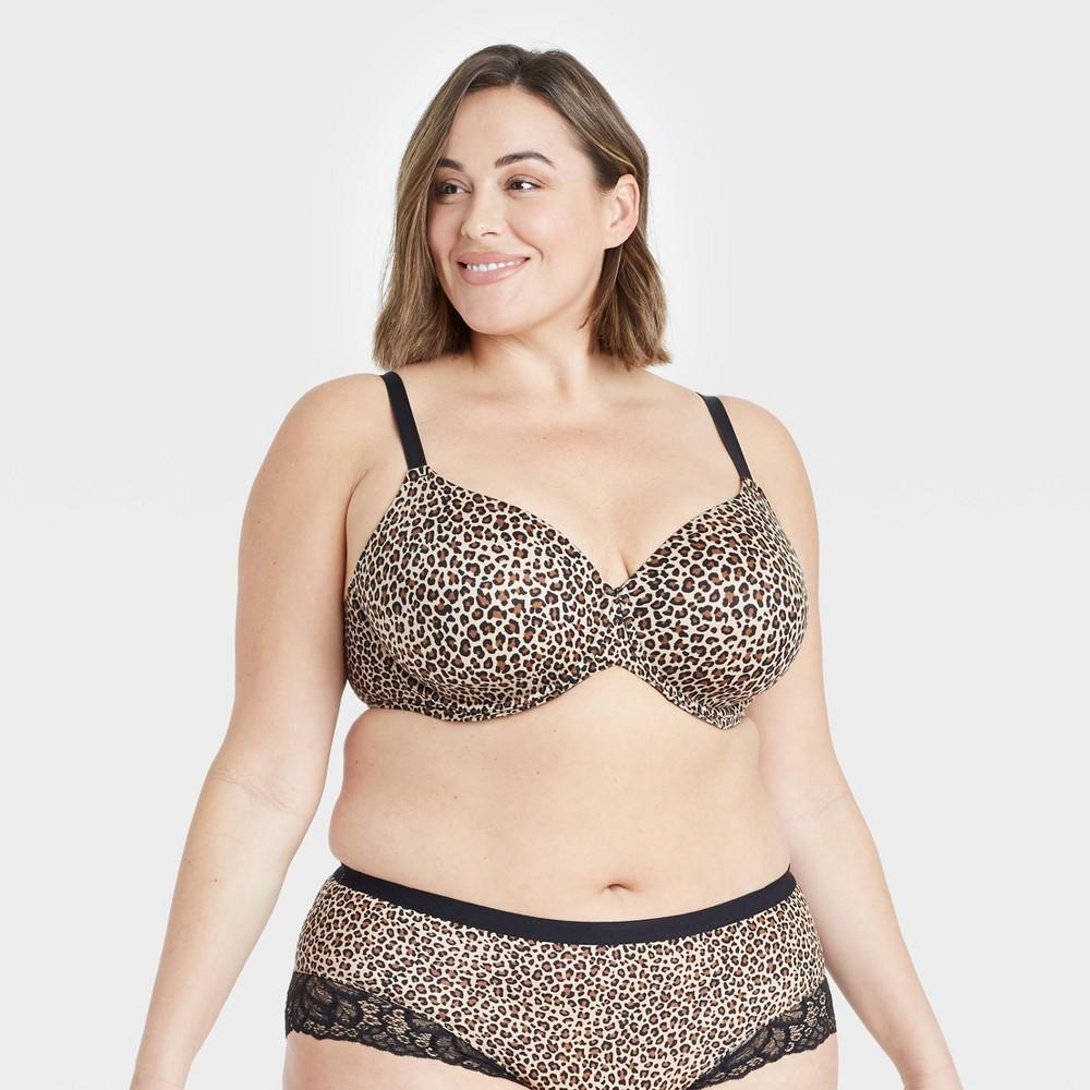 Women 39 S Plus Size Superstar Lightly Lined T Shirt Bra Auden 8482 Leopard Print 42g