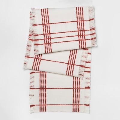 White Monarch Red Stitched Runner (14 x108 )- Threshold™