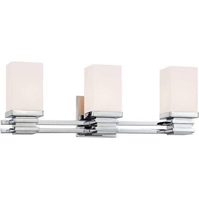 """Possini Euro Design Modern Wall Light Chrome Hardwired 22"""" Wide 3-Light Fixture Etched White Opal Glass for Bathroom Vanity Mirror"""