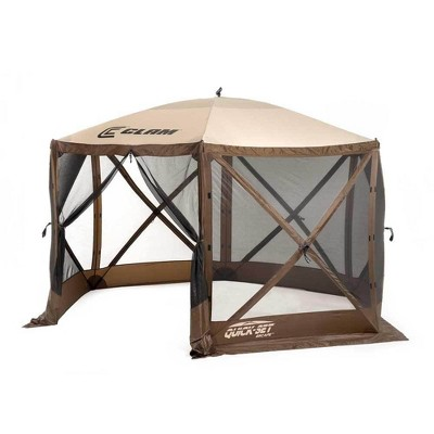 CLAM Quick-Set Escape 11.5 x 11.5 Foot Portable Pop Up Outdoor Camping Gazebo Screen Tent 6 Sided Canopy Shelter with Ground Stakes & Carry Bag, Brown