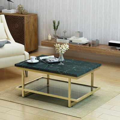 Mytch Modern Marble Coffee Table Gold Finish   Christopher Knight Home :  Target