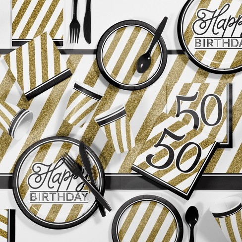 50th Birthday Party Supplies Kit Black Gold Target