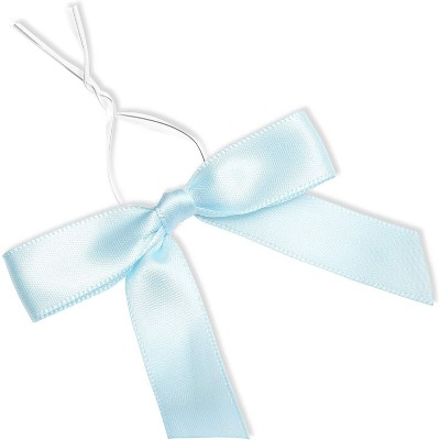 Bright Creations 100 Pack Sky Blue Satin Bow Twist Ties for Gift Bags Decoration (3 Inches)