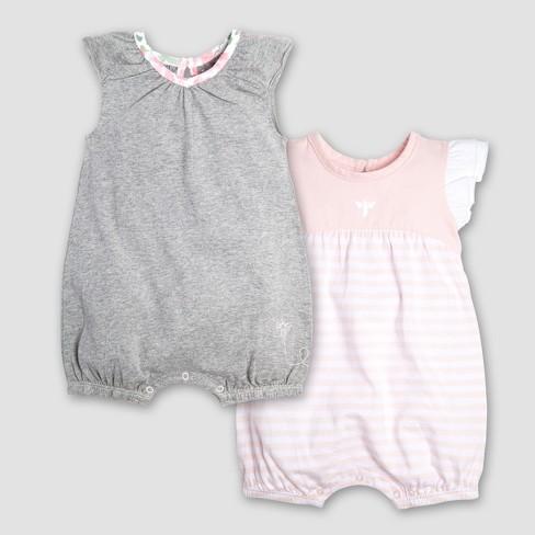 Burt s Bees Baby Girls  Infant Organic Cotton 2pk Watercolor Succulent  Bubbles Romper - Gray Pink 4ffed1017fc1