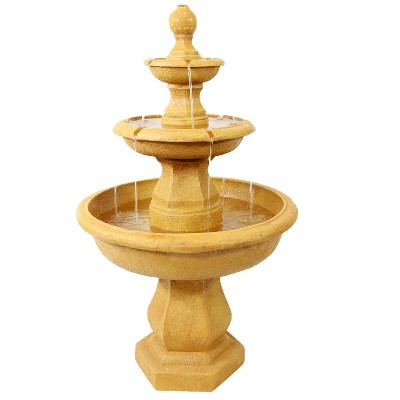 """Sunnydaze 40H Electric Fiberglass and Resin 3-Tier Tropical Style Outdoor Water Fountain"""""""