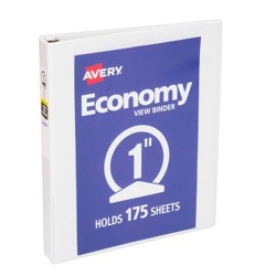 """Avery 1"""" Round Rings 175 Sheet Capacity Economy View Binder - White"""