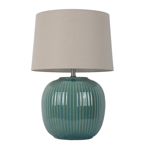 Statement Ribbed Ceramic Table Lamp Teal Includes Energy Efficient