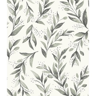 RoomMates Olive Branch Magnolia Home Wallpaper Gray