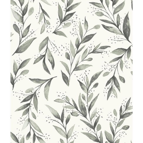 RoomMates Olive Branch Magnolia Home Wallpaper Gray - image 1 of 2