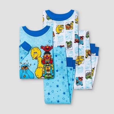 Baby Boys' 4pc Sesame Street Snug Fit Pajama Set - Blue 12M