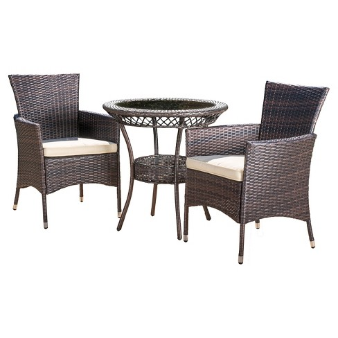 Parker 3-Piece Wicker Patio Bistro Seating Set with Cushions - Brown - Christopher Knight Home - image 1 of 4