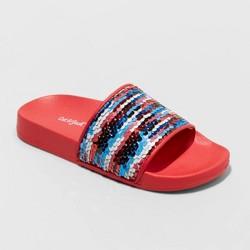 Girls' Kyrie Flip Sequin Slide Sandals - Cat & Jack™ Red
