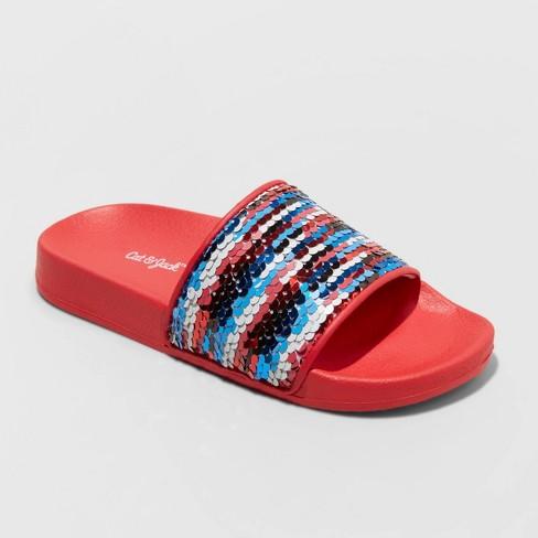 Girls' Kyrie Flip Sequin Slide Sandals - Cat & Jack™ Red - image 1 of 3