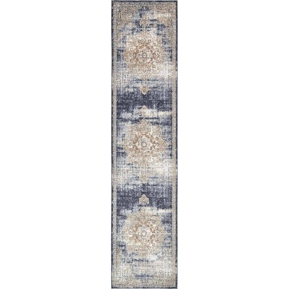 3 39 X13 39 Runner Chateau Roosevelt Rug Beige Navy Blue Unique Loom