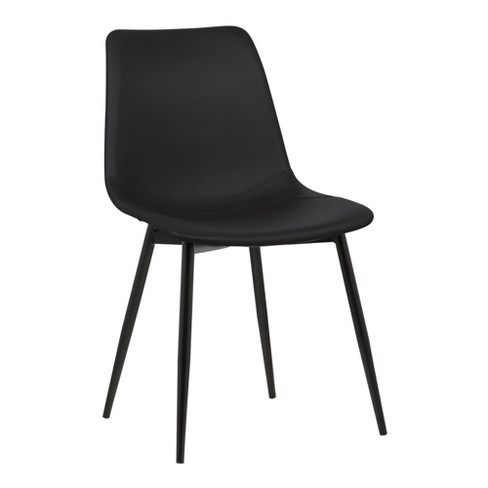 Monte Contemporary Dining Chair in Faux Leather with Black Powder Coated Metal Legs - Armen Living - image 1 of 7
