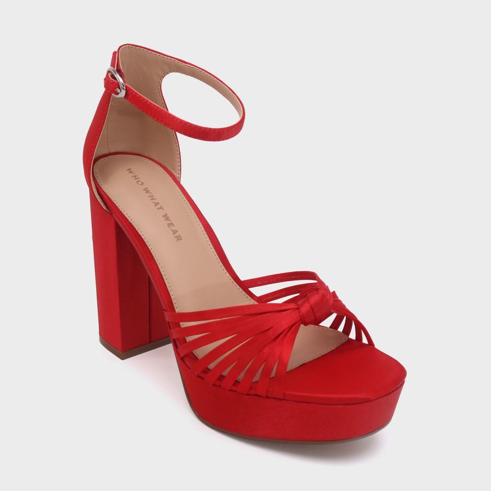 Women's Ella Satin Knot Platform Heeled Pumps - Who What Wear Red 6.5