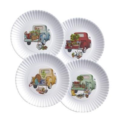 Lakeside Melamine Floral Truck Dinner and Salad Serving Plates - Set of 4