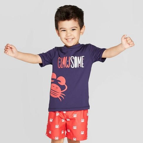 Toddler Boys' Short Sleeve Clawesome Rash Guard - Cat & Jack™ Navy - image 1 of 3
