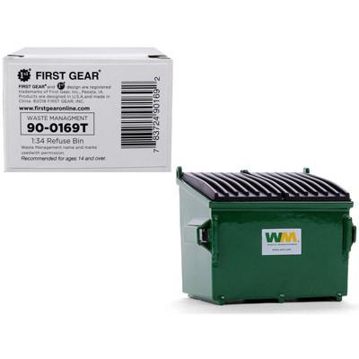 "Refuse Trash Bin ""Waste Management"" Green 1/34 Diecast Model by First Gear"