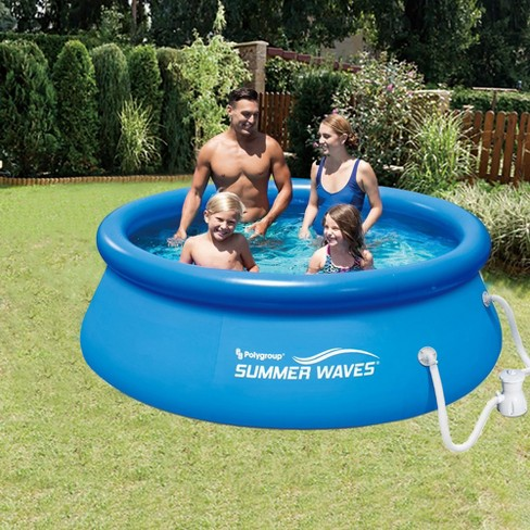 Summer Waves 8' Ft  Quick Set Inflatable Above Ground Pool With Filter Pump