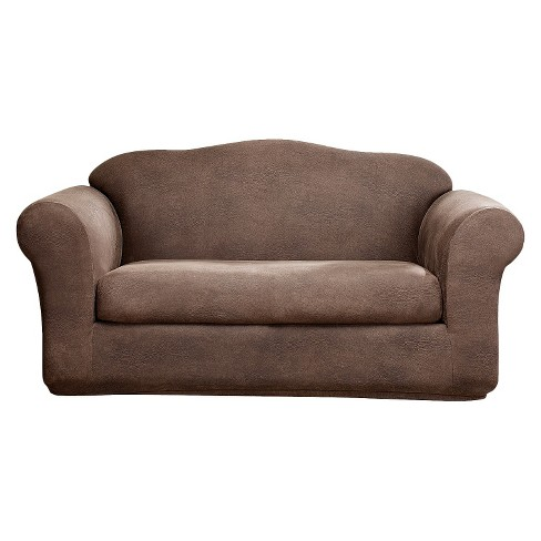 Stretch Leather 2 Piece Loveseat Slipcover - Sure Fit - image 1 of 2