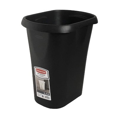 Rubbermaid 1835855 3 Gallon Plastic Home/Office Bedroom Bathroom Waste Basket Trash Can or Recycling Bin, Black