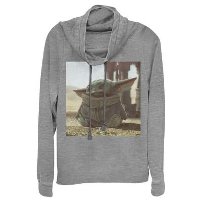 Junior's Star Wars The Mandalorian The Child Square Frame Cowl Neck Sweatshirt