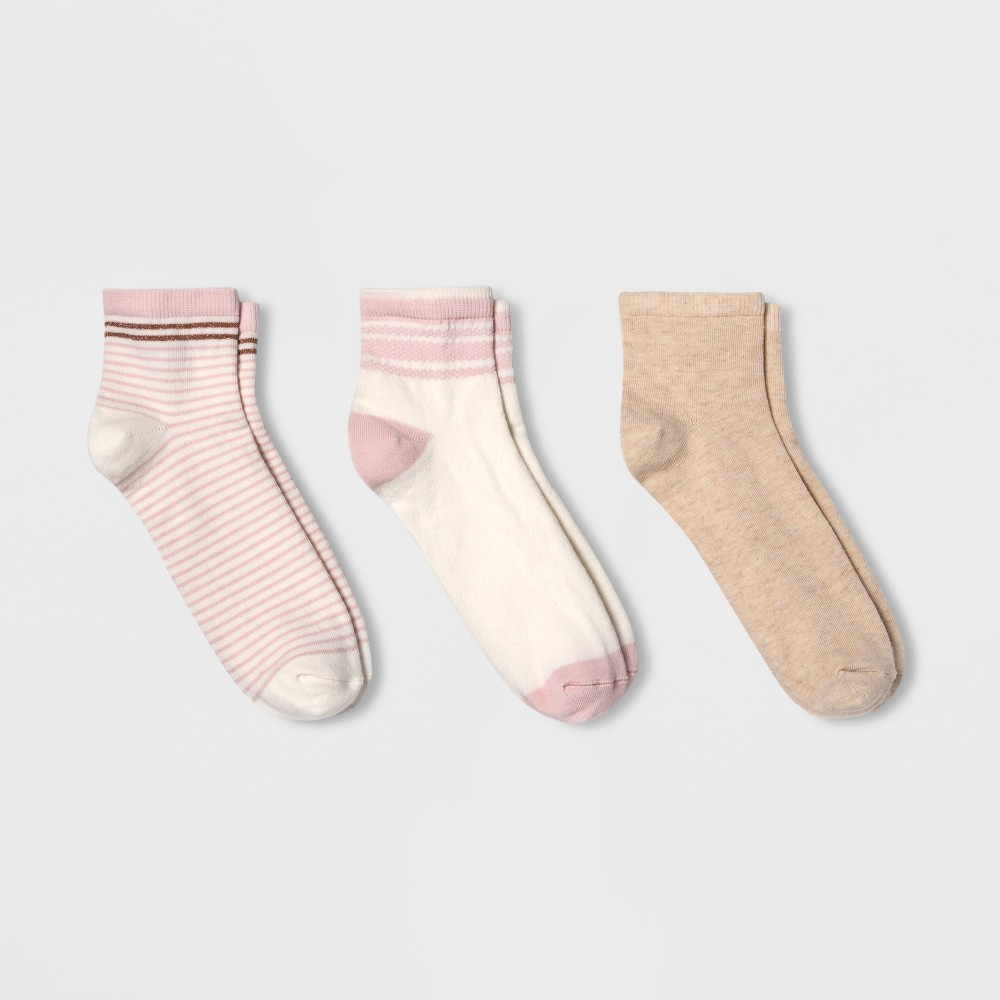 Women's 3pk Lurex Striped Ankle Socks - A New Day Cream One Size, Pink