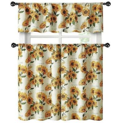 Kate Aurora Country Farmhouse Sunflower Garden Complete Kitchen Curtain Tier & Valance Set - 56 in. W x 14 in. L, Multi
