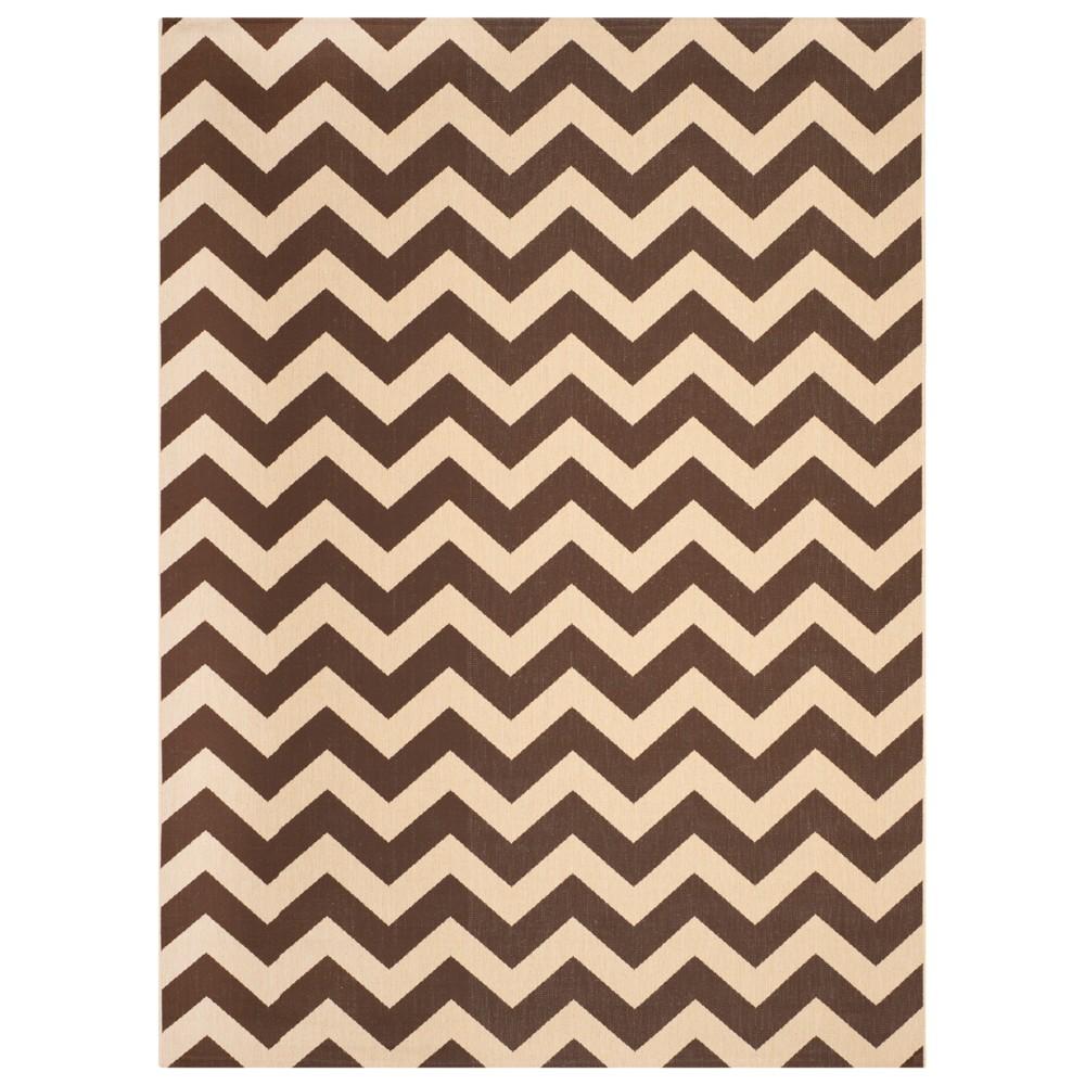 Elvas Rectangle 8' X 11' Outdoor Rug - Dark Brown - Safavieh