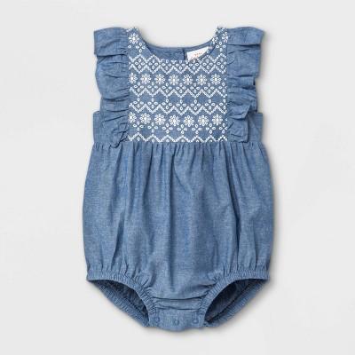Baby Girls' Chambray Puff Print Bubble Short Romper - Cat & Jack™ Light Blue Newborn