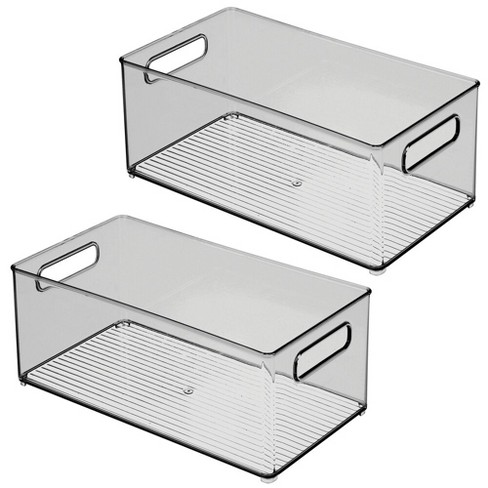 mDesign Plastic Kitchen Pantry Cabinet Food Storage Bin, 2 Pack - Smoke Gray - image 1 of 4
