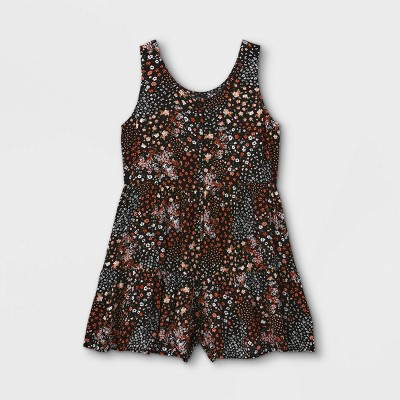 Girls' Flowy Button-Front Sleeveless Romper- art class™ Black
