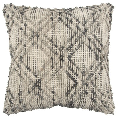 "20""x20"" Oversize Geometric Square Throw Pillow Gray - Rizzy Home"