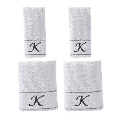 "4pc ""K"" Monogram Bath/Hand Towel Set White - SKL Home"